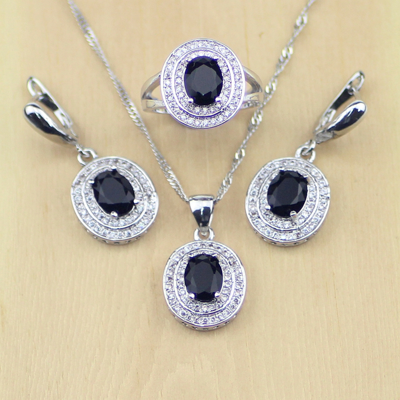 Jewelry-Set Silver 925 Crystal Necklace/rings White Black CZ Trendy Women for Free-Box