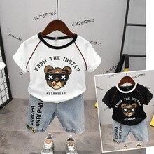 Summer 2 PCS Infant Boy Clothes Cartoon Bear Black & White T Shirt + Denim Shorts Sets Children Kids Jeans Clothing New
