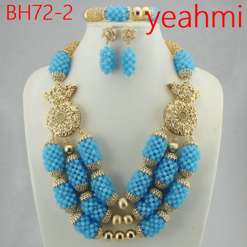 2018 New Gold Round Beads Necklace Set Classic African Beads Jewelry Set for Women, Best Nigeria Wedding Jewelry Gift BH72-2 stylish women s beads round arc necklace