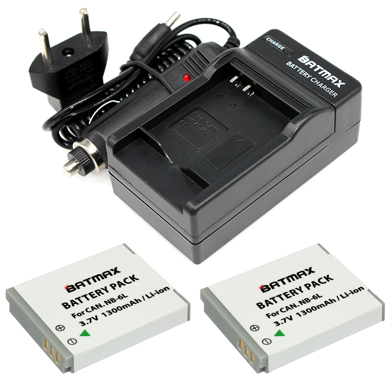 2Pcs NB-6L NB6L NB 6LH 6L Battery + Portable Wall Charger for Canon IXUS 310 SX240 SX275 SX280 SX510 HS 95 210 300 S90 S95 зарядное устройство canon cb 2lye original для nb 6lh