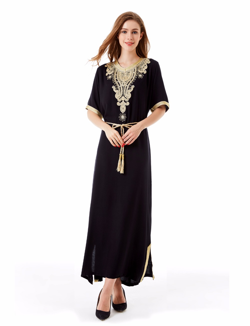 Women islamic clothing Long Dubai Jalabiya Dress moroccan Kaftan Caftan Islamic Abaya Turkish fashion Muslim dress arab robe1605