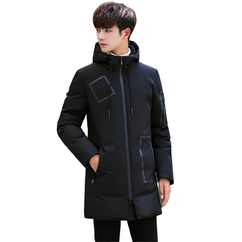 2018 hiver vestes hommes vêtements épais neige plumes manteaux blanc canard Parka hommes veste Long hiver manteau