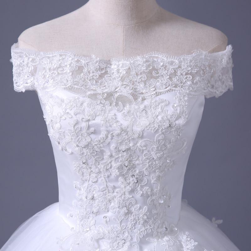 VENSANAC 2017 Free Shipping New A Line Lace Sweetheart Short Sleeve White Satin Bridal Wedding Dress Wedding Gown 30217 7
