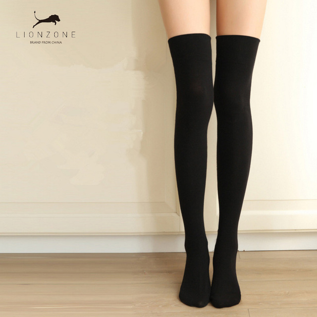 f3788a8673b Japanese Women Cotton Over-Knee Long Hosiery For Solid Color College Girls  Student Lovely Stockings