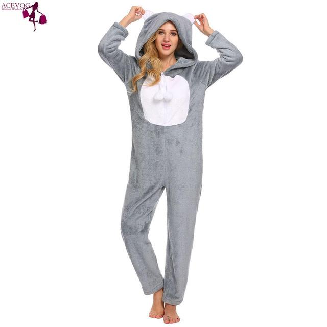 2e9ddb8c7db ACEVOG Hooded Sleeve Plush Women Onesies Jumpsuit Sleepwear cute Feminino  fashion Long Pajamas