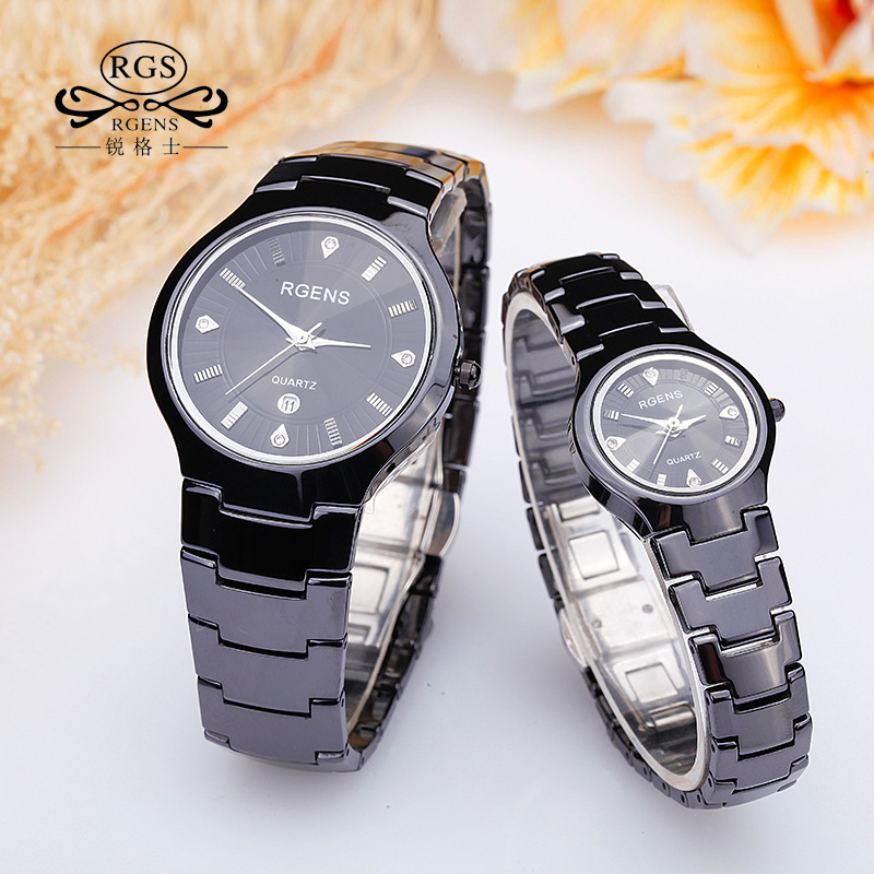 Des femmes des hommes-bracelet en céramique montres noir blanc quartz aime mâle dames montre de mode casual étanche montres Diamant