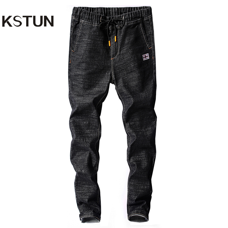 KSTUN Mens   Jeans   Japan Style Spring Autumn Elastic Waist Black Slim Drawstring Black   Jean   Man Casual Denim Pants Joggers Homme