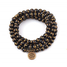 Fashion Women`s bracelet beads with Lotus Buddha Charm Yoga Bracelet 108 mala necklace dropshipping