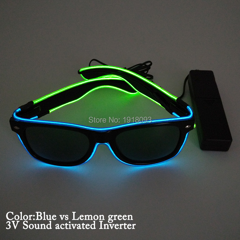 New arrival hot EL Glowing Glasses with EL controller for Party Stage Light up Supplies Double Color sound activated