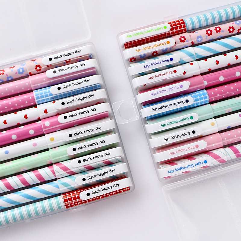 10 Color Pen With Box  Japanese And Korean Creative Stationery, Broken Flower, Watercolor Pen, Color Neutral Pen