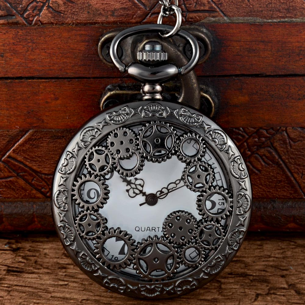 New Fashion Black Steampunk Skeleton Quartz Pocket Watch Chains Vintage Men Women Pendant Necklace Clock Gift new fashion bill cipher gravity falls quartz pocket watch analog pendant necklace men women kid watches chain gift retro vintage