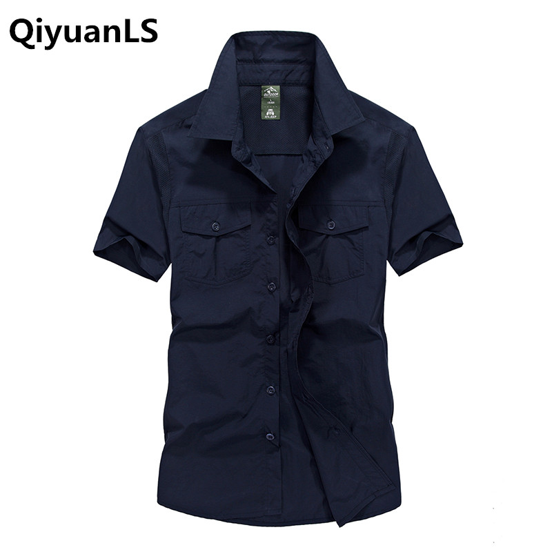 QiyuanLS Men Cargo Shirts Summer Men Solid Color Military Short Sleeves Shirts Cotton Breathable Chemise homme Loose Army Shirt