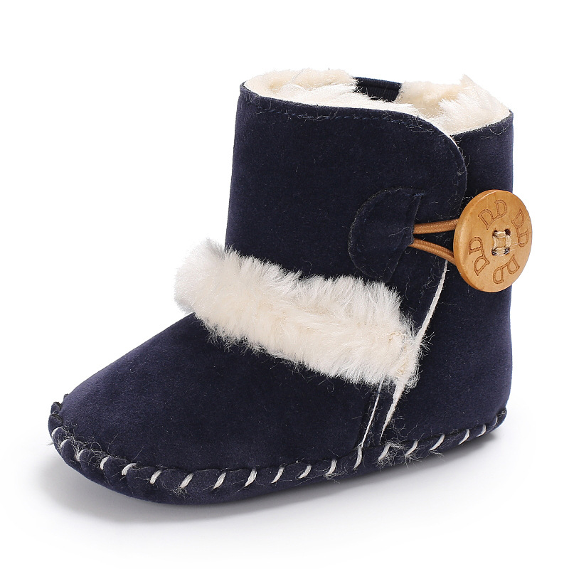Fashion Soft Bottom Baby Boot With Fur Keep Warm Shoes Solid Pu Leather With Fur Newborn Baby Shoes Non-slip For 0-18M