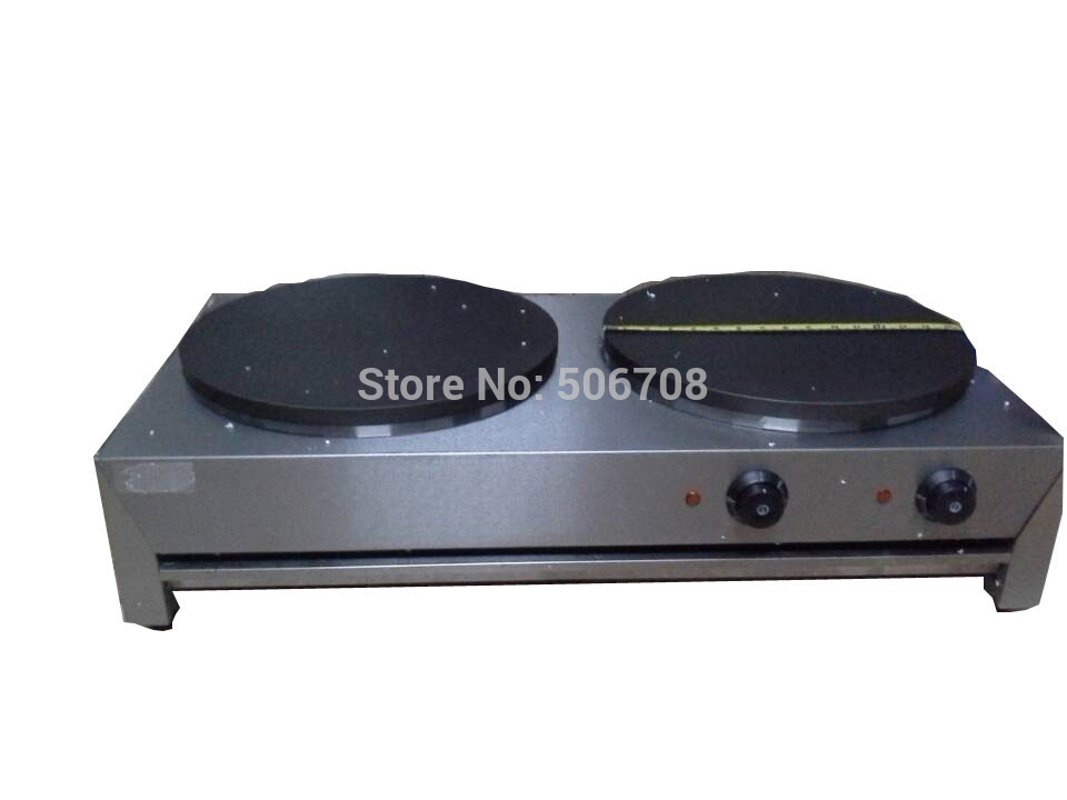 Free shipping Electric 220v-240v crepe maker for double-end pancakes maker wafers oven buy machine come with CD guidance free shipping 220v 240v electric manual rotating crepe machine crepe maker pancakes maker