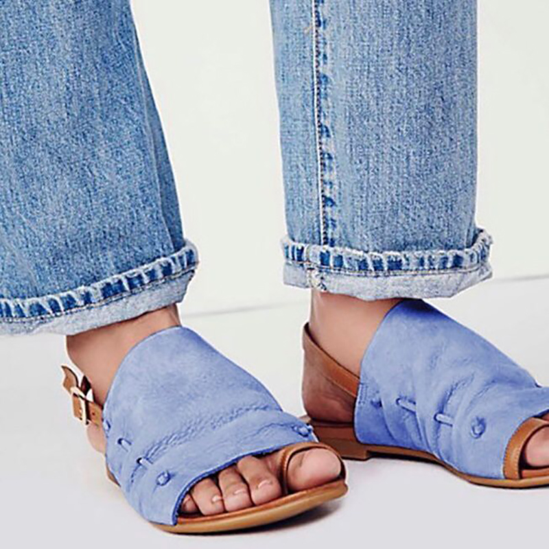 Women Fashion Sandals Womens PU Leather Flat Sandals Ladies Sexy Summer Zapatos De Mujer Blue 2019 WF257Women Fashion Sandals Womens PU Leather Flat Sandals Ladies Sexy Summer Zapatos De Mujer Blue 2019 WF257