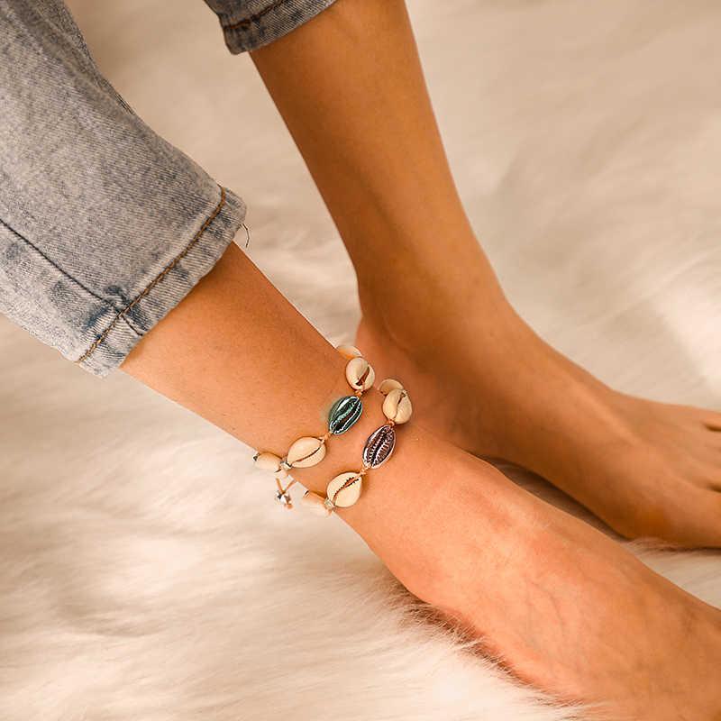 Tocona nowa plaża liny niebieski fioletowy muszla regulowany łańcuszek na kostkę dla kobiet urok muszla bransoletka boso Party Foot biżuteria A01406