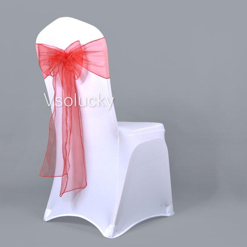 25 шт./лот, прозрачный чехол для стула из органзы с поясом и бантом, свадебные, вечерние, рождественские, на день рождения, для душа - Цвет: Красный