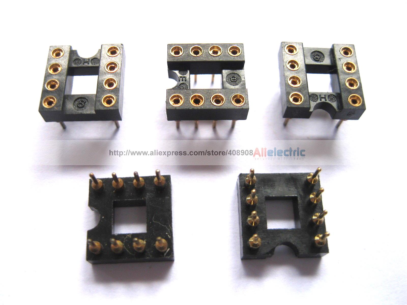120 Pcs IC Socket 8 Pin Round DIP High Quality Gold цена