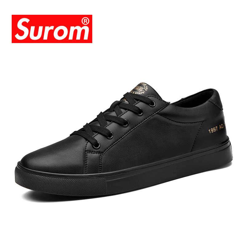 b453cb3c6878e ... SUROM/брендовая дизайнерская мужская повседневная обувь, летние дышащие  модные белые кроссовки, мужская кожаная ...