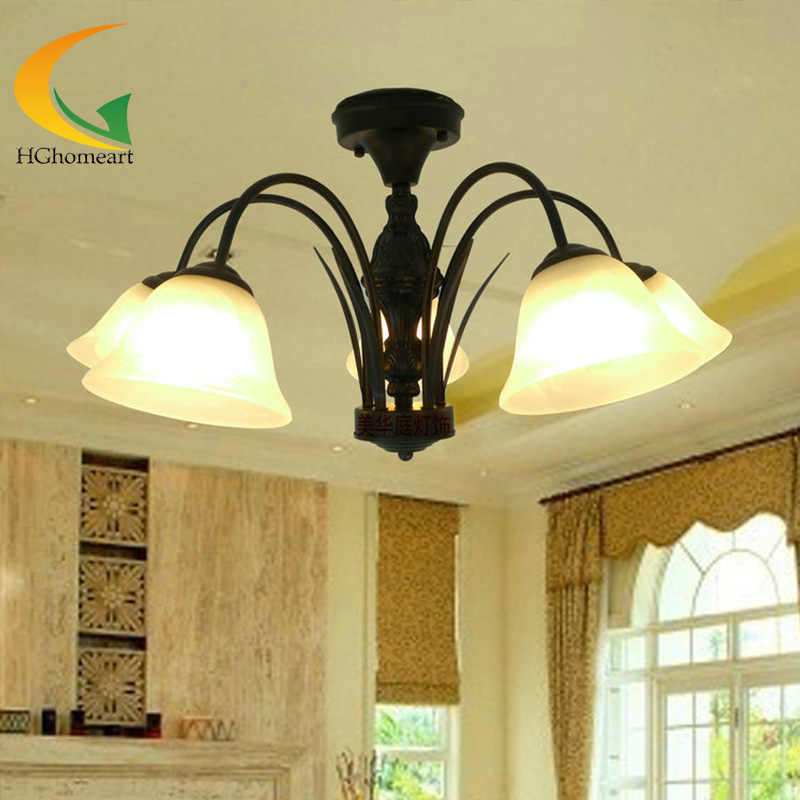 где купить European chandeliers Iron light ceiling living room retro chandelier antique chandelier lamps restaurant bedroom light по лучшей цене