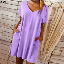 KLV Ladies Women Plus Size Casual Plain V Neck Dress Loose Long Top Solid Short Sleeve Mini With Pockets