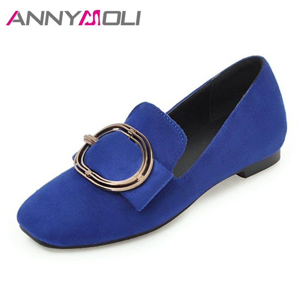ANNYMOLI Women Loafers Shoes Flats Slip On Casual Shoes Square Toe Buckle Boat Shoes Spring Female Flat Blue Brown Size 34-43 women s fashionable bracelet style rhinestone inlaid analog quartz wristwatch golden 1 x 362
