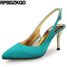 b4f0e51a5bbdb6 Satin Big Size Pumps High Heels Bridal Slingback Metal Ladies 33 Customized  Turquoise Wedding Shoes Ivory Scarpin Pointed Toe
