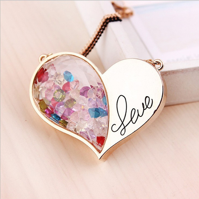 Hot Sale gold love heart double chain colored crystal floating locket necklace