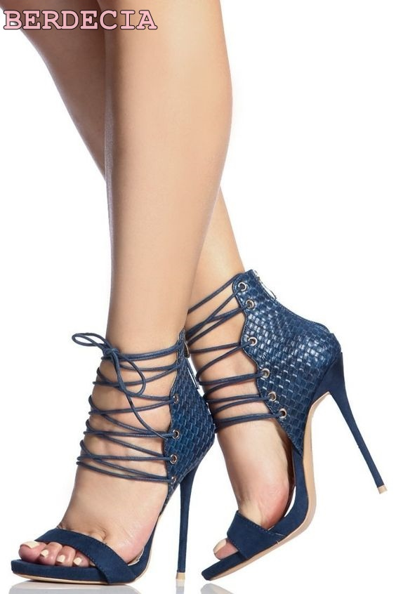 Roman style solid color texture cross straps high heels sandals open toe stiletto heels blue black lace up high heel sandals black sequins embellished open back lace up top