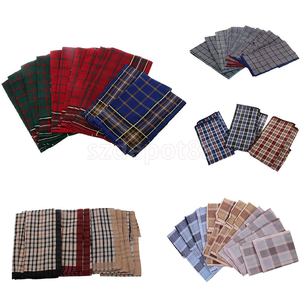 12pcs Men's Vintage Plaid Square Hankerchief Cotton Hanky Wedding Party Handkerchiefs