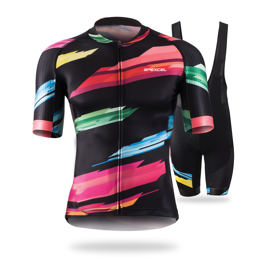 Spexcel Men Hit color quick dry breathable Outdoor sports Bicycle mountain bike short Sleeve Cycling Jersey Set XS-3XL barcelona ckahsbi winter long sleeve men uv protect cycling jerseys suit mountain bike quick dry breathable riding pants new clothing sets
