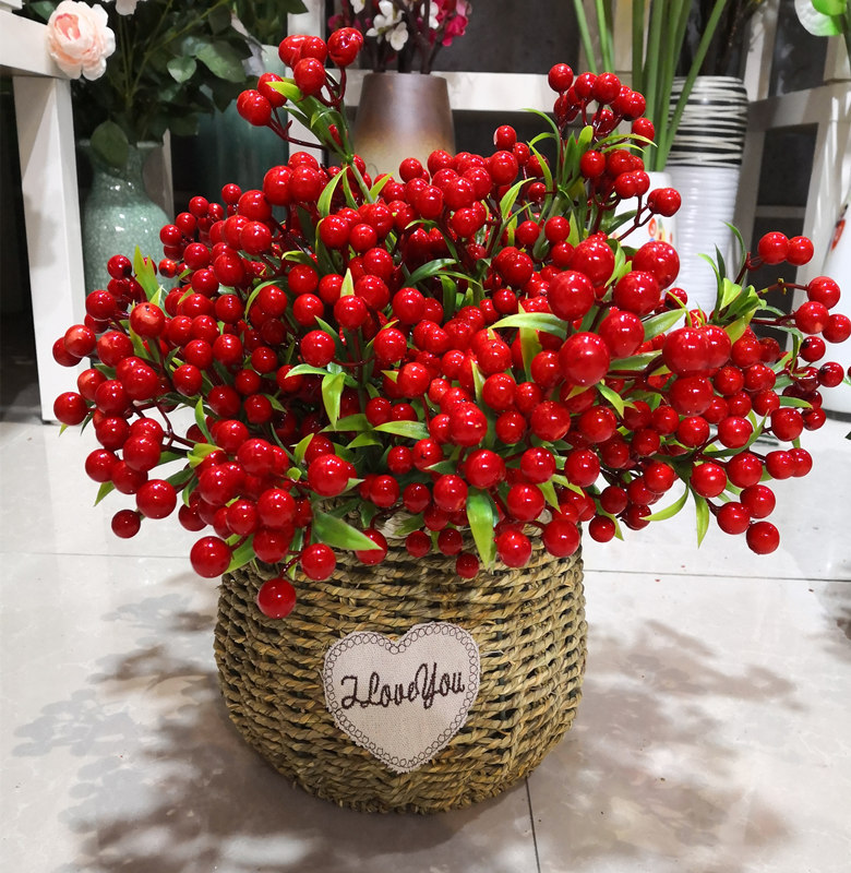 7 Branches Red Artificial Berry Flowers Bouquet Artificial Fruit Plants Mini Leaf Outdoor Living Room Wedding Decoration