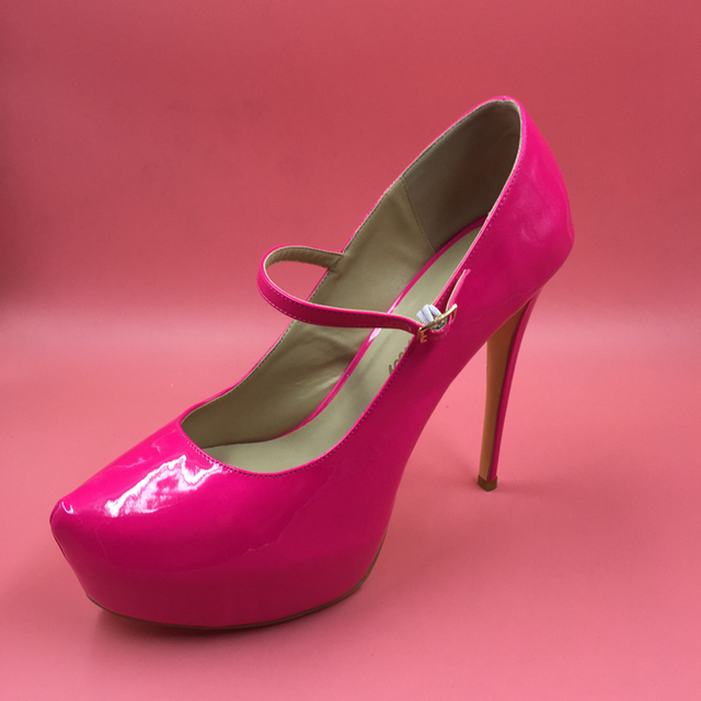 614b1409fc76 Hot Pink Patent Leather Women Pumps Mary Janes Style Pumps High Heels  Platforms Round Toes Shoes Women Size 15 Womens Shoes