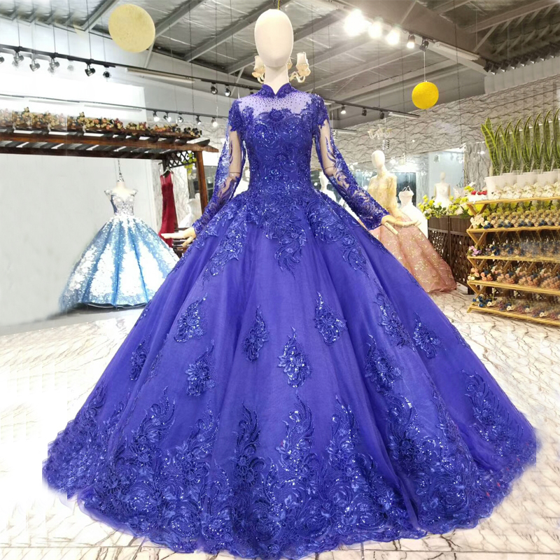 Royal Blue Vintage Ball Gowns Wedding Dresses High Neck