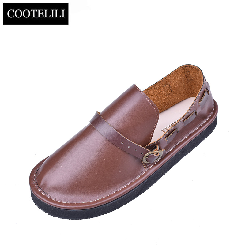 COOTELILI Oxford Flat Shoes Women Leather Loafers Slip On Round Toe Buckle Sapato Feminino Brown ...