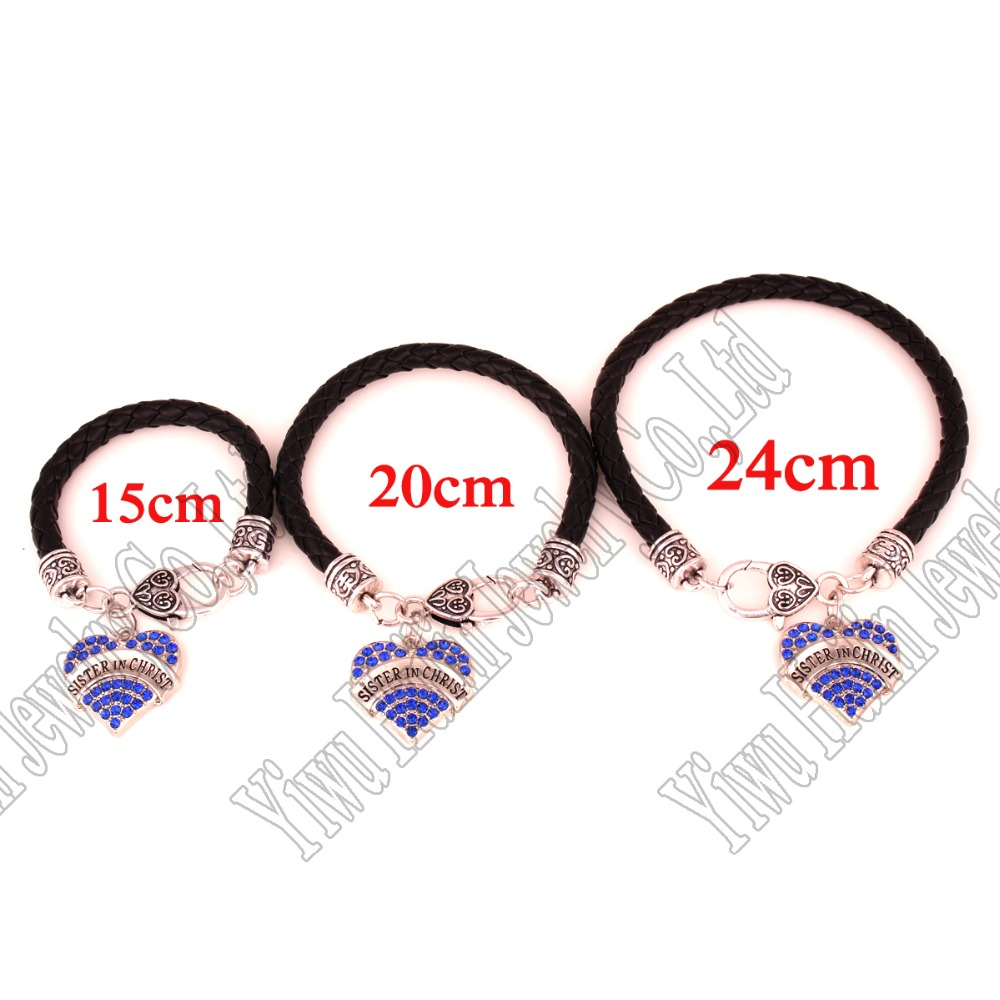 3 Pcs A Set Rhodium Plated Zinc Studded With Sparkling Crystals Sister In Christ Charm Bracelet Lobster Claw Clasps Chain Link Bracelets From Jewelry