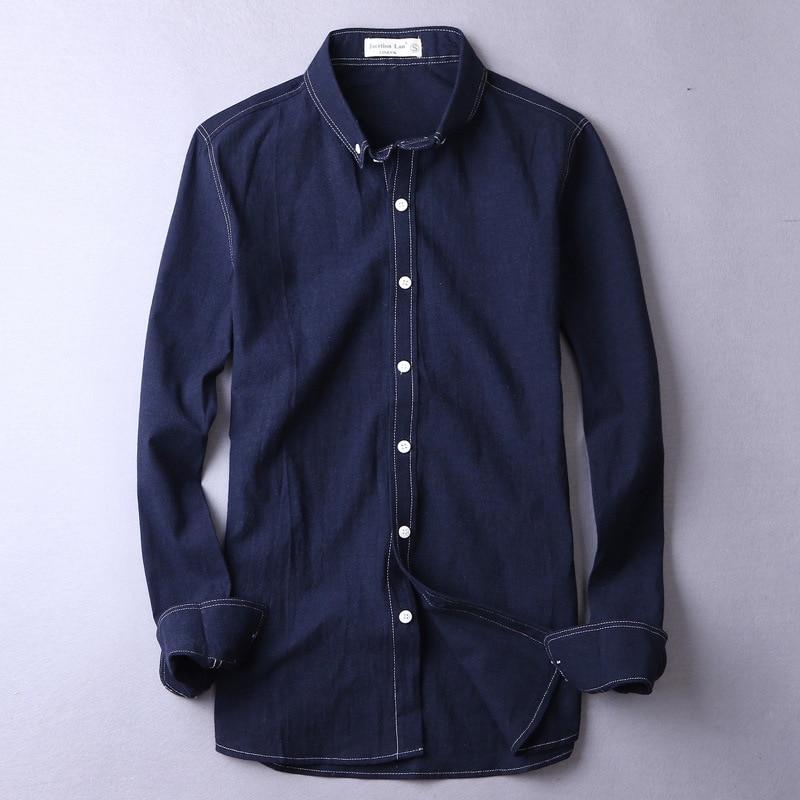 2017 Autumn winter cotton linen shirt men brand clothing solid shirts men flax thick shirt men casual fashion camisa masculina
