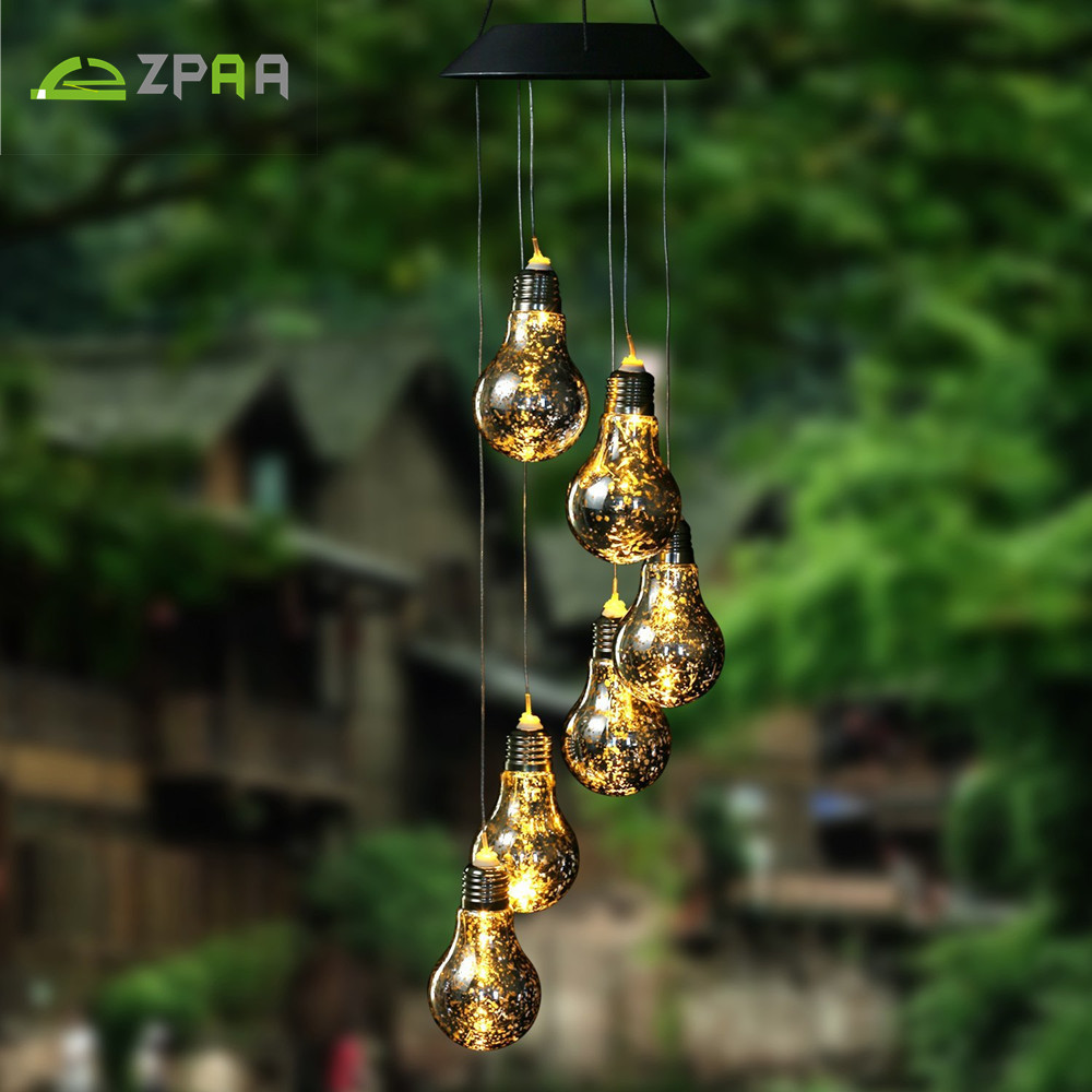 ZPAA Led Solar Garden Light Lamp LED Bulb Wind Chime String Lights Outdoor Decorative Romantic Waterproof LED Solar Path Lights