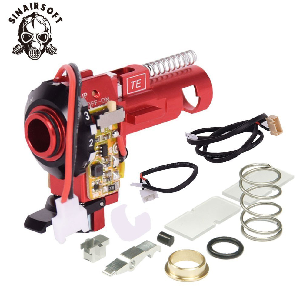 Купить с кэшбэком Tactical PRO CNC Aluminum Red Hop up Chamber With LED Fit AEG M4 M16 For paintball Airsoft hunting Target Shooting Accessories