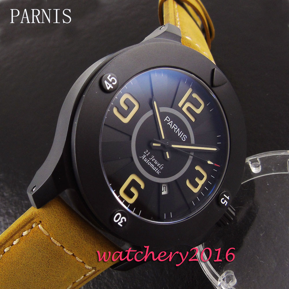 47mm Parnis black dial PVD case camel leather strap date sapphire glass automatic movement Mens Watch47mm Parnis black dial PVD case camel leather strap date sapphire glass automatic movement Mens Watch
