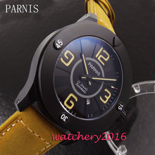47mm Parnis black dial PVD case camel leather strap date sapphire glass automatic movement Men's Watch