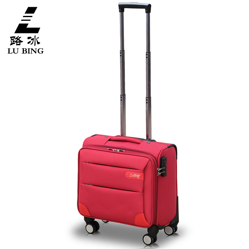 High quality 16inches boarding nylon trolley luggage on universal wheels with aluminum alloy rod