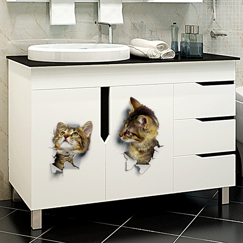 New View Cat Dog Animal 3d Wall Sticker Bathroom Toilet Kids Room Decoration Wall Decals Sticker Refrigerator Waterproof Poster in Wall Stickers from Home Garden