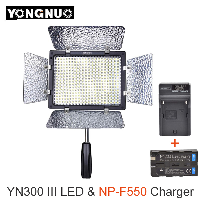 Yongnuo YN300 III YN-300 lIl 3200k-5500K CRI95 Camera Photo LED Video Light with 2300mAh NP-F550 Battery Pack with Charger set цена 2017