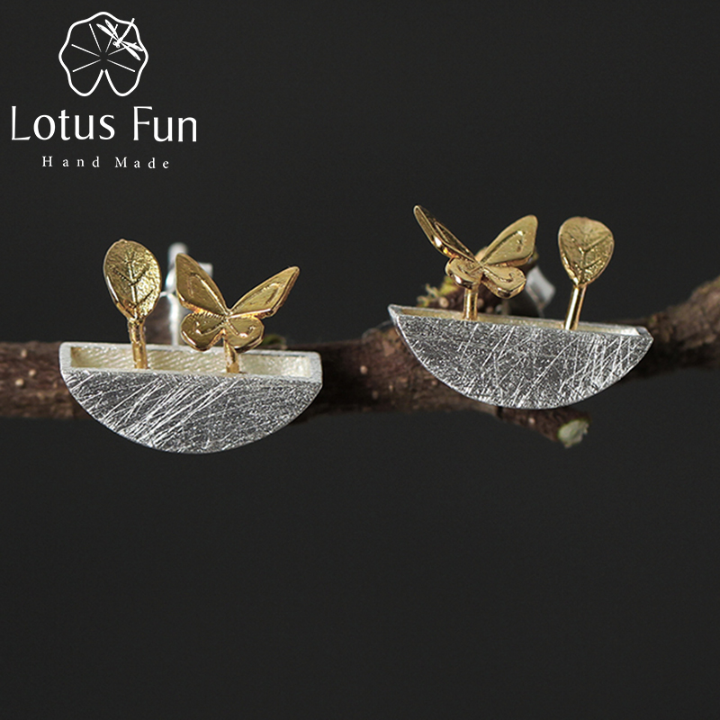 Lotus Fun Real 925 Sterling Silver Natural Style Creative Handmade Fine Jewelry My Little Garden Stud