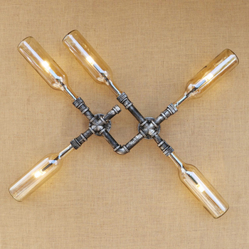 Industrial iluminación led lámpara de pared de vidrio sombra LOFT de hierro...