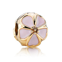 Top Quality 925 Sterling Silver Bead Charm Cherry Blossom Pink Enamel Gold Color Clip Lock Stopper Fit Pandora Bracelet Jewelry