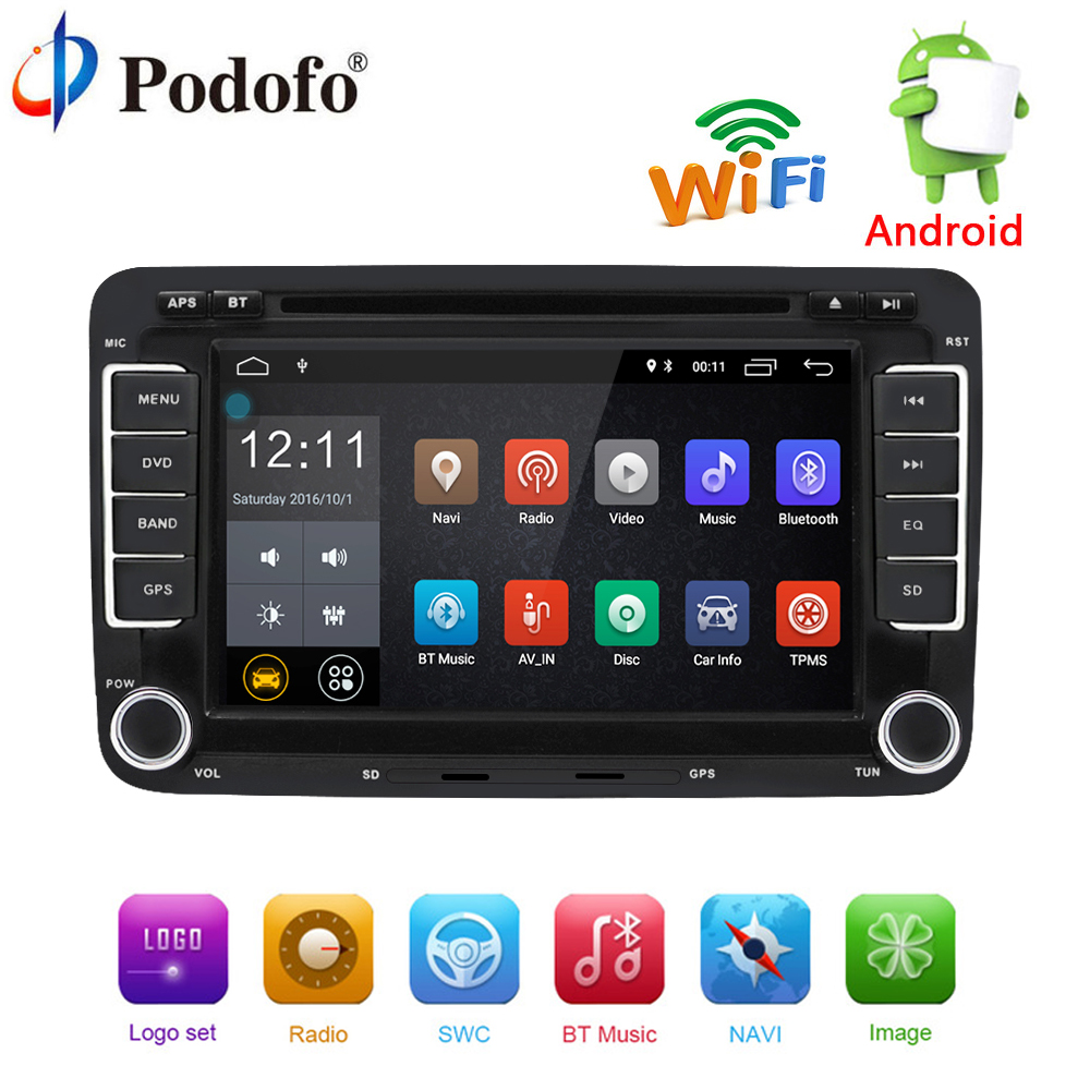 Podofo Voiture lecteur Multimédia Android 7.1 Autoradio GPS 2 Din Voiture Radio Audio Pour Volkswagen/VW/Passat/ POLO/GOLF/Skoda/Seat/Jetta