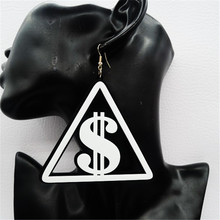 New Hiphop Sexy Long RMB/$/GBP Currency Symbol Earrings for Women US Dollar/Pound Dangle Earring Brincos Earings Fashion Jewelry