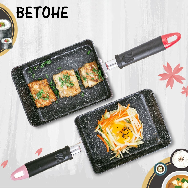 BETOHE Tamagoyaki Egg Rolls Pan Non-stick Steak Frying Pans General Use For Gas & Induction Cooker